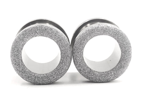 Matte Silver Sparkle Tunnel Plugs
