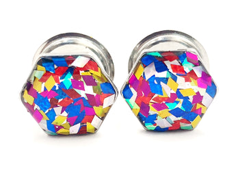 Vibrant Confetti Diamond Hexagon Plugs