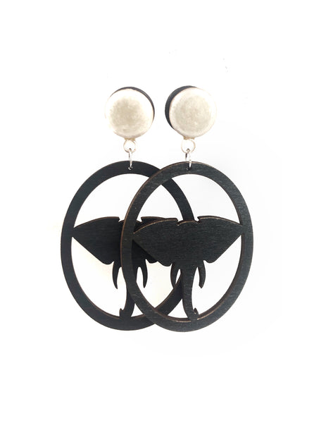 Frosted Pearl Elephant Wood Dangle Plugs