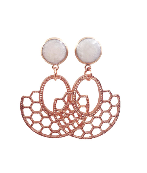 Frosted Pearl Honeycomb Dangle Earrings