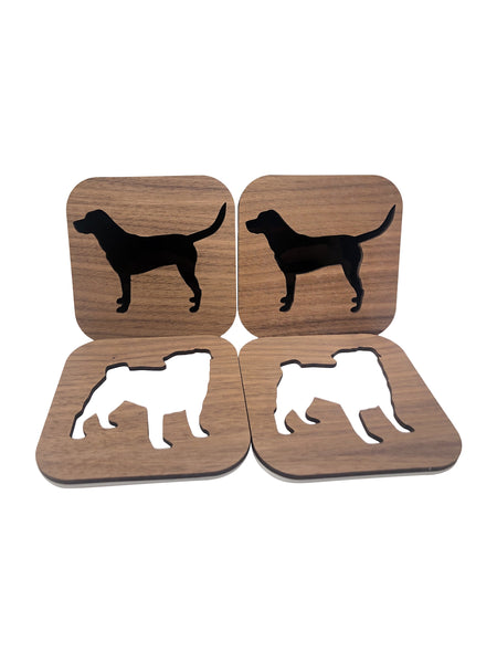 Custom Dog Breed Walnut Wood Coasters