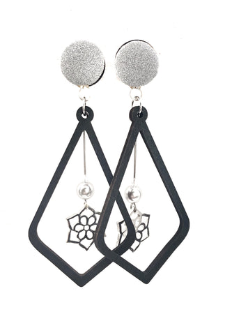 Matte Silver Flower Teardrop Wood Dangle Plugs