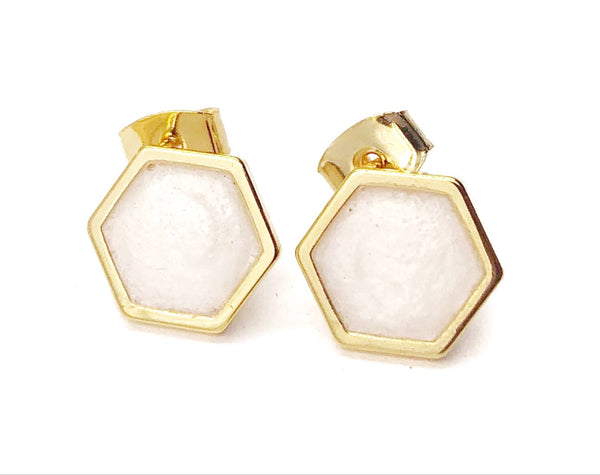 Frosted Pearl Geometric Hexagon Earrings