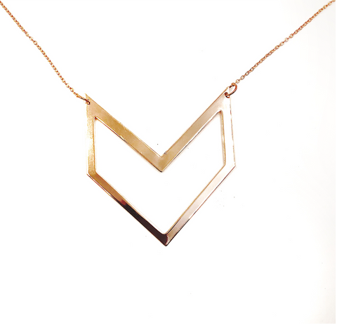 Rose Gold Arrow Geometric Necklace - Defiant Jewelry