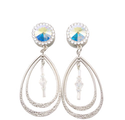 Swarovski AB Crystal Teardrop Dangle Plugs - Defiant Jewelry