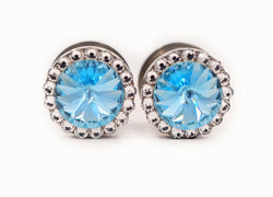 Aquamarine Swarovski Crystal Plugs - Defiant Jewelry