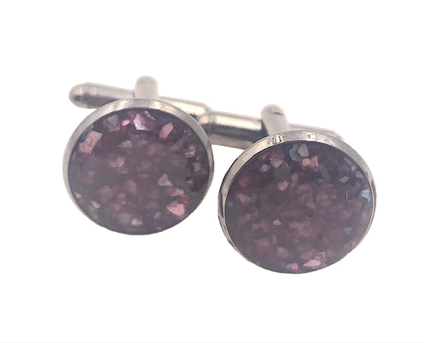 Plum Burgundy Crushed Shell Cufflinks