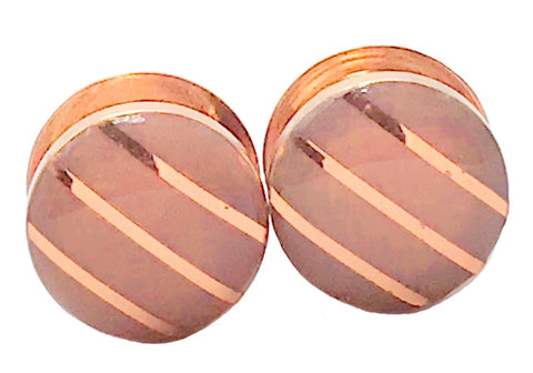 Blush Nude Gloss Metallic Stripe Rose Gold Plugs