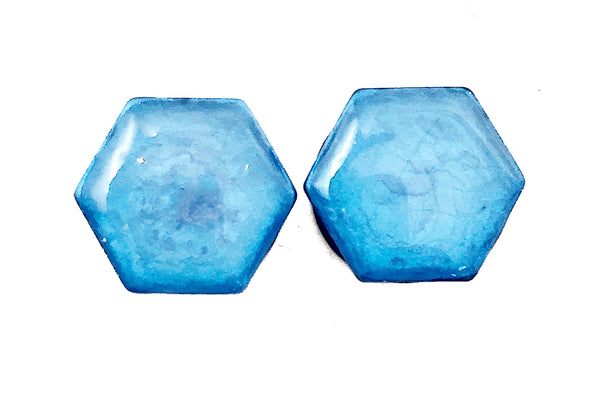 Pearlescent Blue Hexagon Plugs