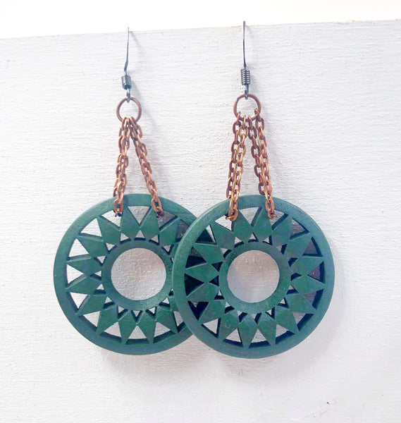 Emerald Green Wood Sun Dangle Earrings