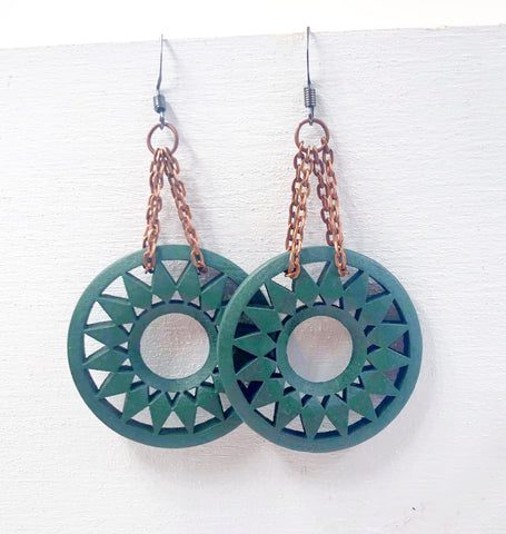 Emerald Green Wood Sun Dangle Earrings - Defiant Jewelry