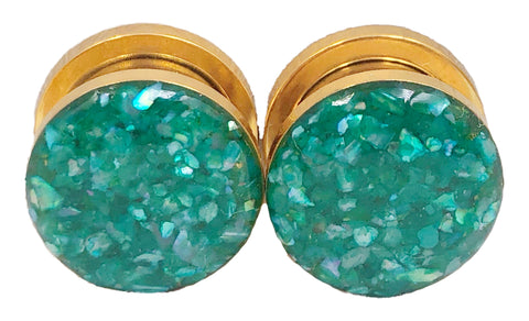 Emerald Green Crushed Shell Plugs - Defiant Jewelry