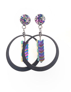 Lilac, Sapphire, and Light Green Rainbow Hematite Hoop Dangle Plugs