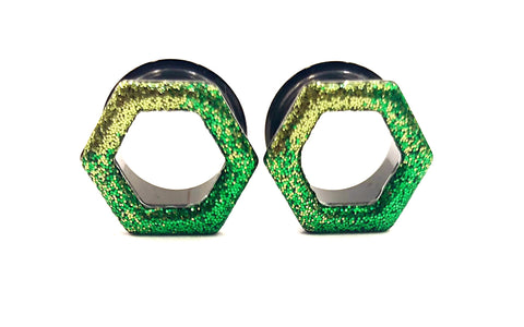 Light and Dark Green Ombré Raw Sparkle Tunnel Hexagon Plugs