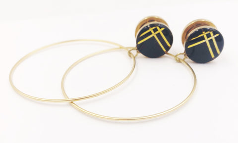 Black and Gold Minimalist Stripe Hoop Plugs - Defiant Jewelry