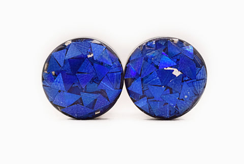 Blue Iridescent Triangle Glitter Plugs - Defiant Jewelry