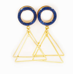 Blue Sparkle Tunnel Double Triangle Dangle Plugs - Defiant Jewelry