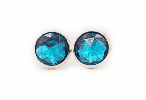 Aqua Gem Stud Earrings - Defiant Jewelry