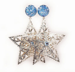Blue Crushed Shell Star Dangle Plugs - Defiant Jewelry