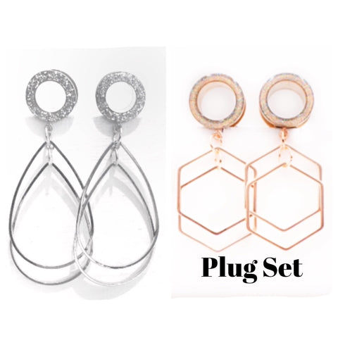 Tunnel Geometric & Teardrop Dangle Plugs Set - Defiant Jewelry