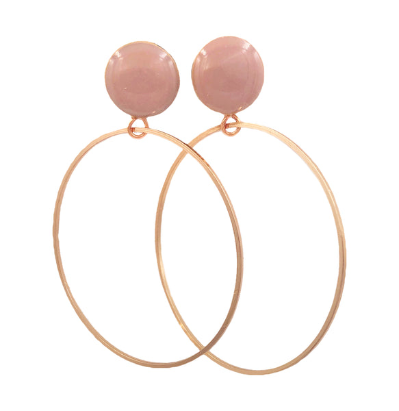 Blush Nude Rose Gold Hoop Wood Dangle Plugs