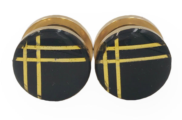 Black and Gold Minimalist Stripe Plugs