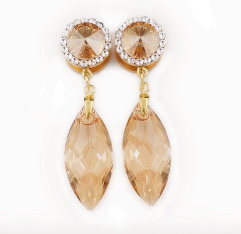 Gold Champagne Swarovski Crystal Dangle Plugs - Defiant Jewelry