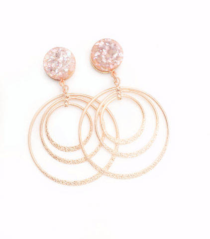 Champagne Crushed Shell Hoop Dangle Plugs - Defiant Jewelry