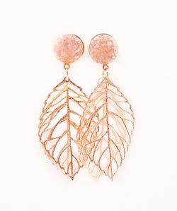 Champagne Shell Leaf Dangle Plugs - Defiant Jewelry