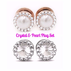 Swarovski Crystal & Pearl Plugs Set - Defiant Jewelry