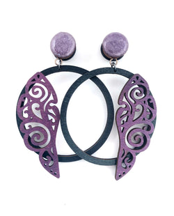 Shimmer Purple Wing Hoop Wood Dangle Plugs