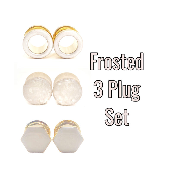 Frosted 3 Plug Set - Pearl Glass Wood, Frosted Tunnel, Frosted Hexagon - Defiant Jewelry