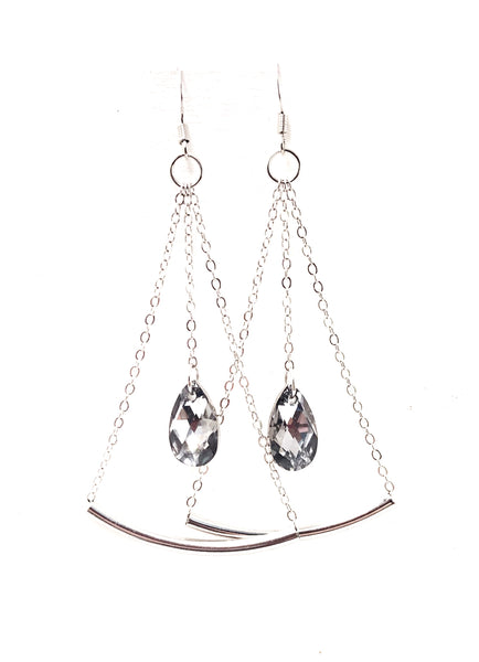 Smoke Grey Swarovski Crystal Pendulum Dangle Earrings