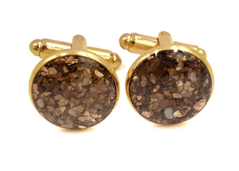 Gold Crushed Shell Cufflinks