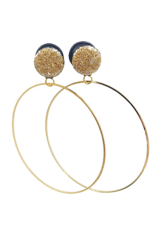 Gold Crushed Glass Hoop Wood Dangle Plugs