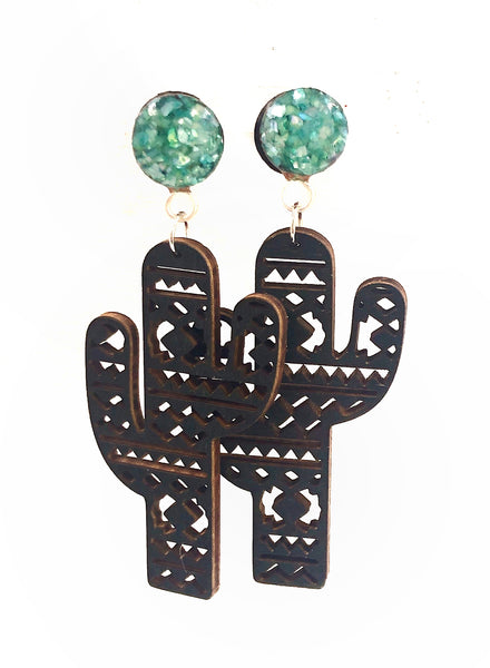 Green Crushed Shell Aztec Cactus Wood Dangle Plugs
