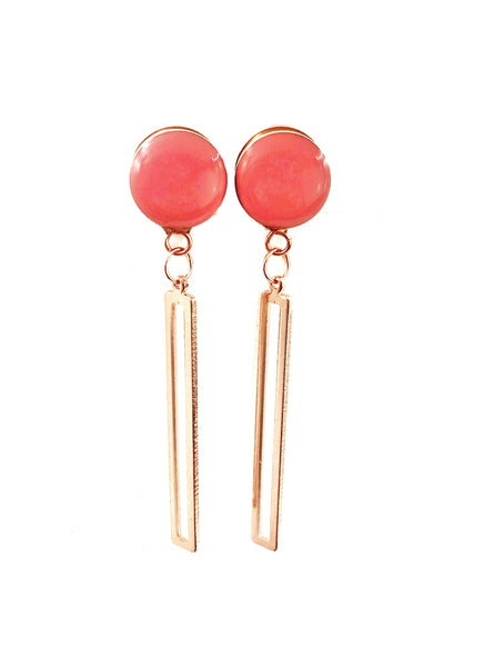 Coral Gloss Minimalist Rectangle Dangle Plugs