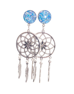 Ocean Blue Crushed Shell Dreamcatcher Dangle Plugs