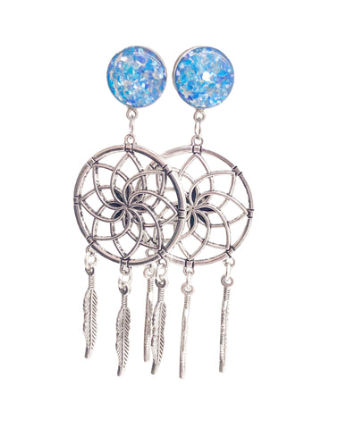 Ocean Blue Crushed Shell Dreamcatcher Dangle Plugs - Defiant Jewelry