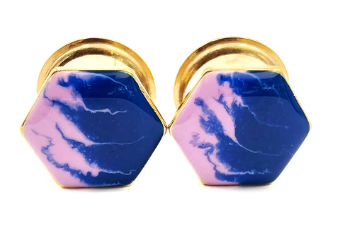 Lavender and Blue Wave Hexagon Plugs