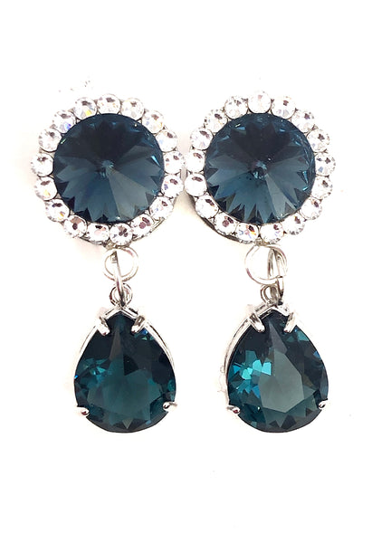 Muted Blue Swarovski Crystal Teardrop Dangle Plugs