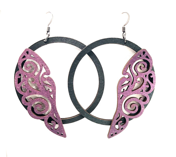 Wood Intricate Wing Dangle Hoop Earrings