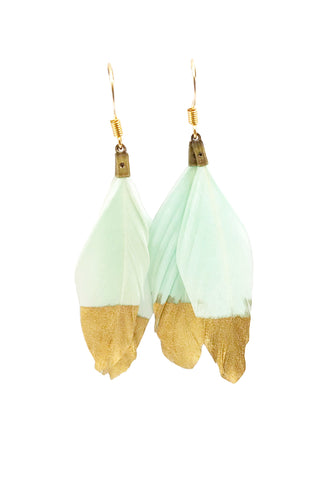 Mint Green & Gold Dipped Feather Dangle Earrings - Defiant Jewelry