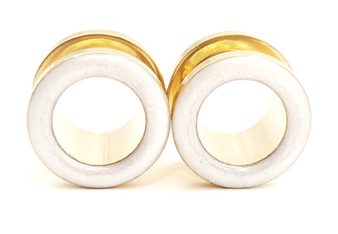 Frosted Pearl White Tunnel Plugs - Defiant Jewelry