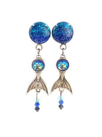 Mermaid Tail Ombré Sparkle Dangle Plugs