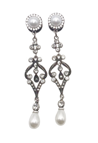 Pearl, Swarovski Crystal and Rhinestone Drop Dangle Plugs
