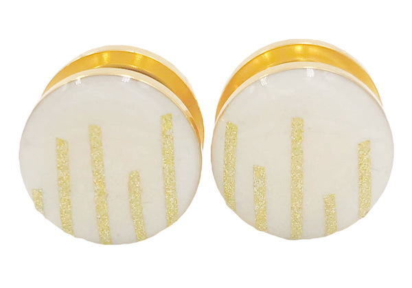 Frosted White and Shimmer Gold Stripe Plugs