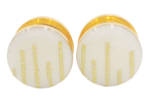Frosted White and Shimmer Gold Stripe Plugs - Defiant Jewelry