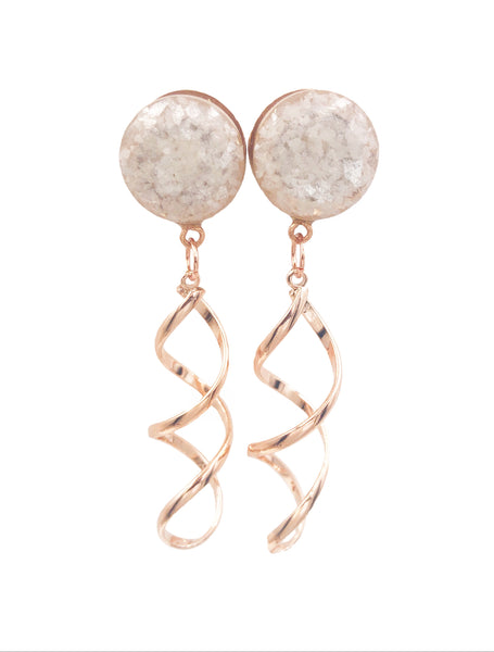 Pearl Crushed Glass Twist Dangle Plugs - Defiant Jewelry