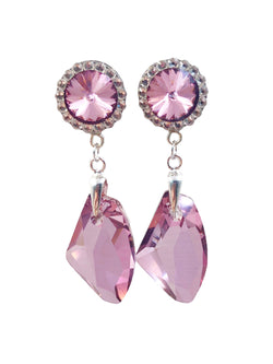 Vintage Rose Swarovski Crystal Drop Dangle Plugs